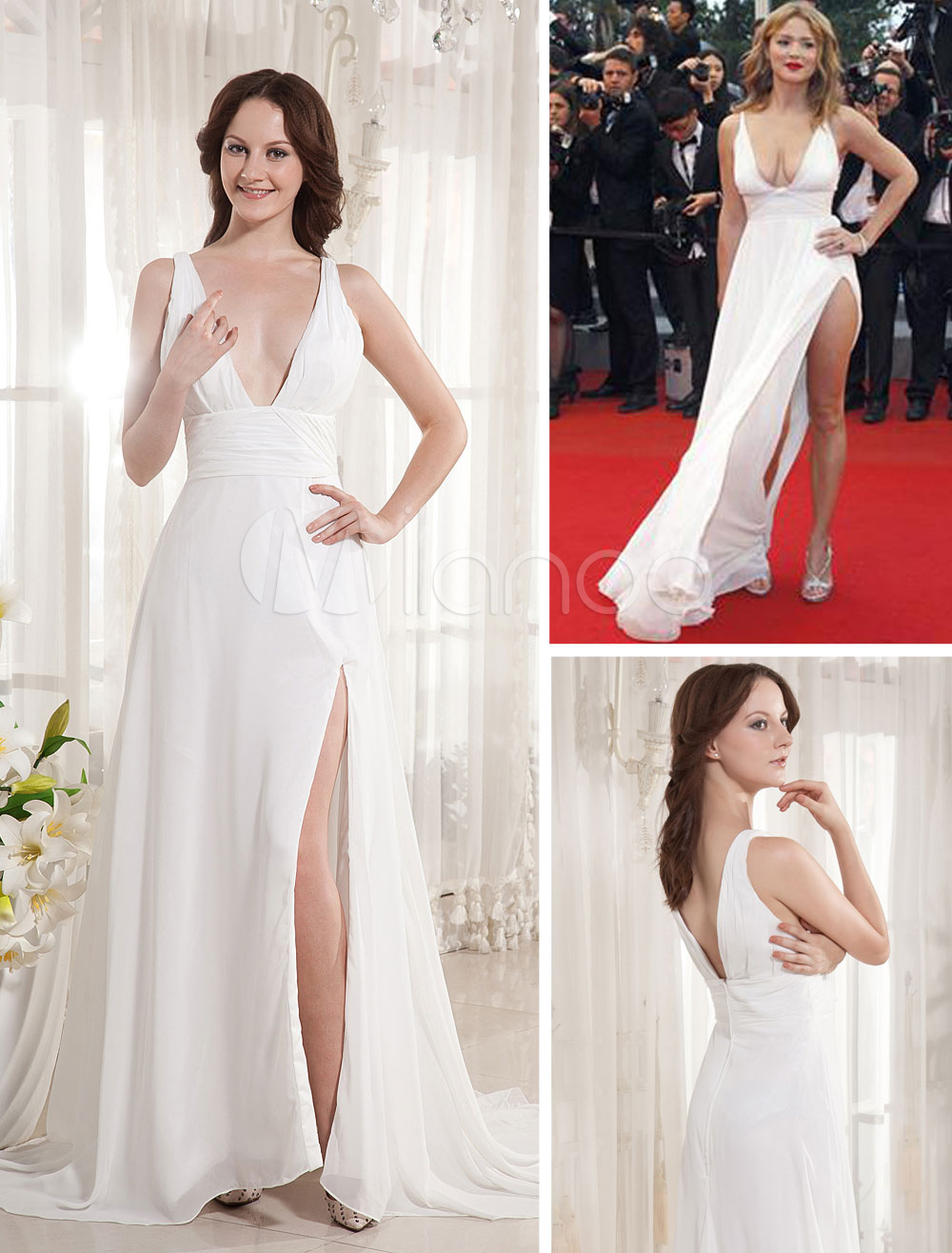 Ivory Floor Length V-Neck Chiffon Cannes Film Festival Dress