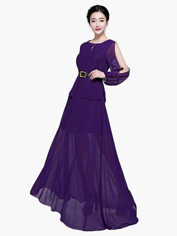 Vestido largo de chifón de violeta oscura con escote redondo de ...