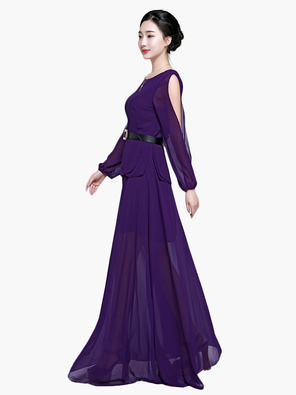 Hottest Long Sleeve Open Shoulder Long Prom Dress - Milanoo.com