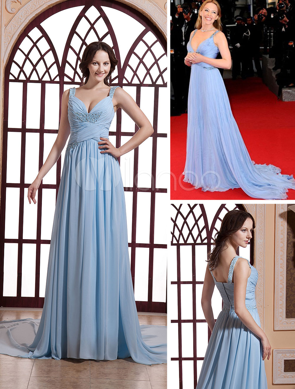 Chiffon Celebrity Dress Pastel Blue Pleated V Neck Beading Red Carpet Dress With Train