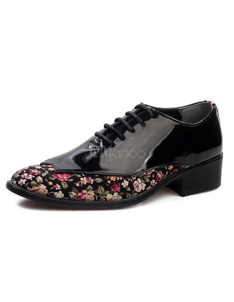 19d5d7f0f99a Men Dress Shoes 2019 Pointed Toe Antique Design Lace Up Patent PU Leather  Business Shoes- ...