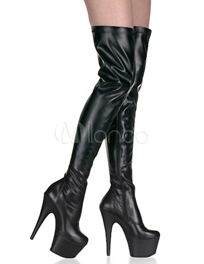 Buy Cool PU Leather Patent Round Toe Women's Sexy High Heel Boots for $89.24 in Milanoo store
