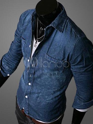 8c3893d4c ... Azul del dril de algodón de manga larga camisa Casual para hombres -No.2