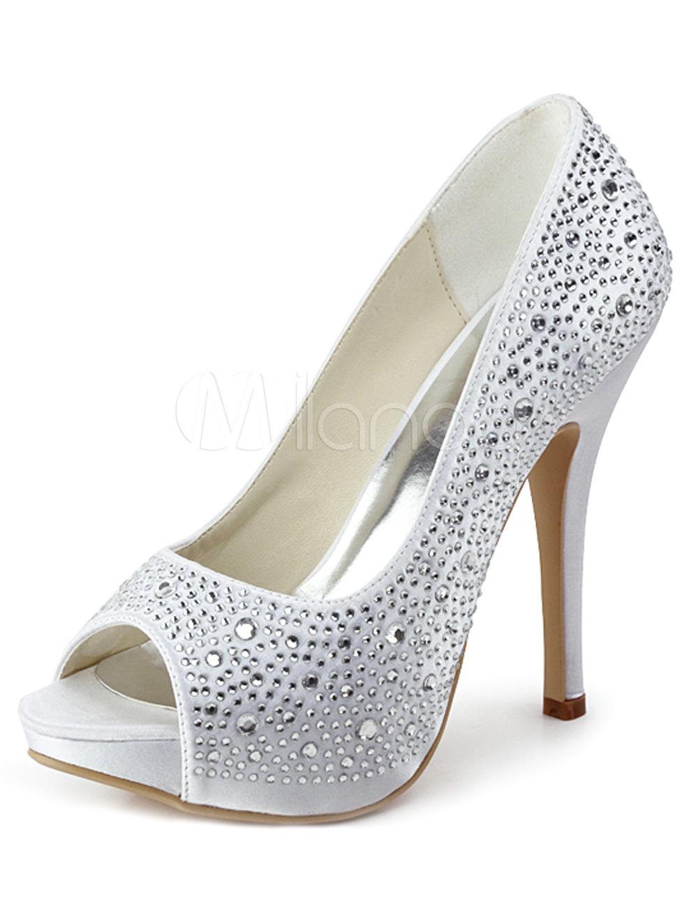 Glitter Elegant Silk And Satin Rhinestone Peep Toe High Heels