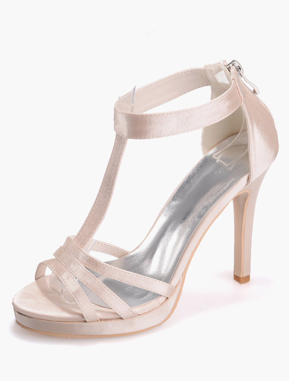 Gorgeous Zipper Open Toe Satin Evening and Bridal Sandals
