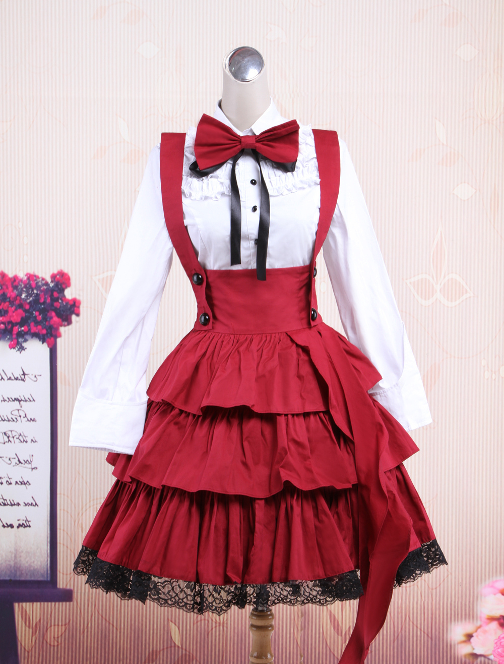 Buy Cotton White Long Sleeves Blouse And Black Ruffles Lolita Skirt Outfit for $78.29 in Milanoo store