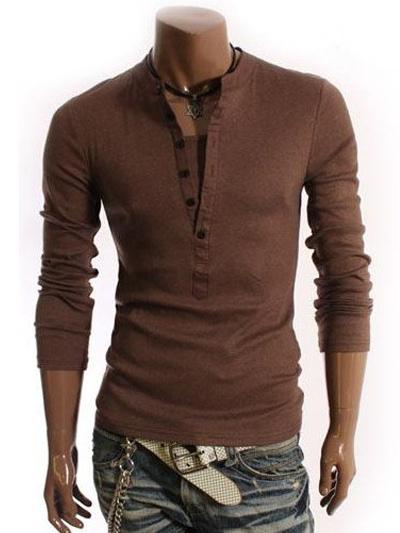 d5240eedff T-shirt alla moda con bottoni e maniche lunghe