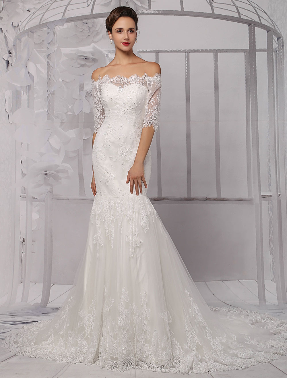 Half sleeve off the shoulder lace wedding dress in trumpet for Lace off the shoulder wedding dresses