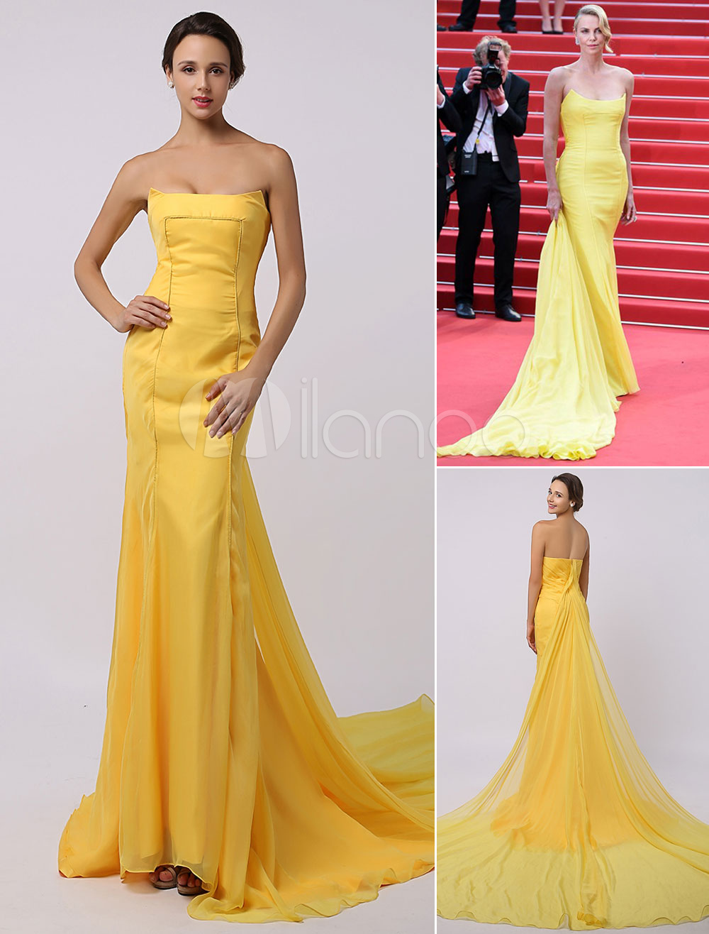Charlize Theron Cannes Golden Chiffon Strapless Mermaid Gown with Long Train