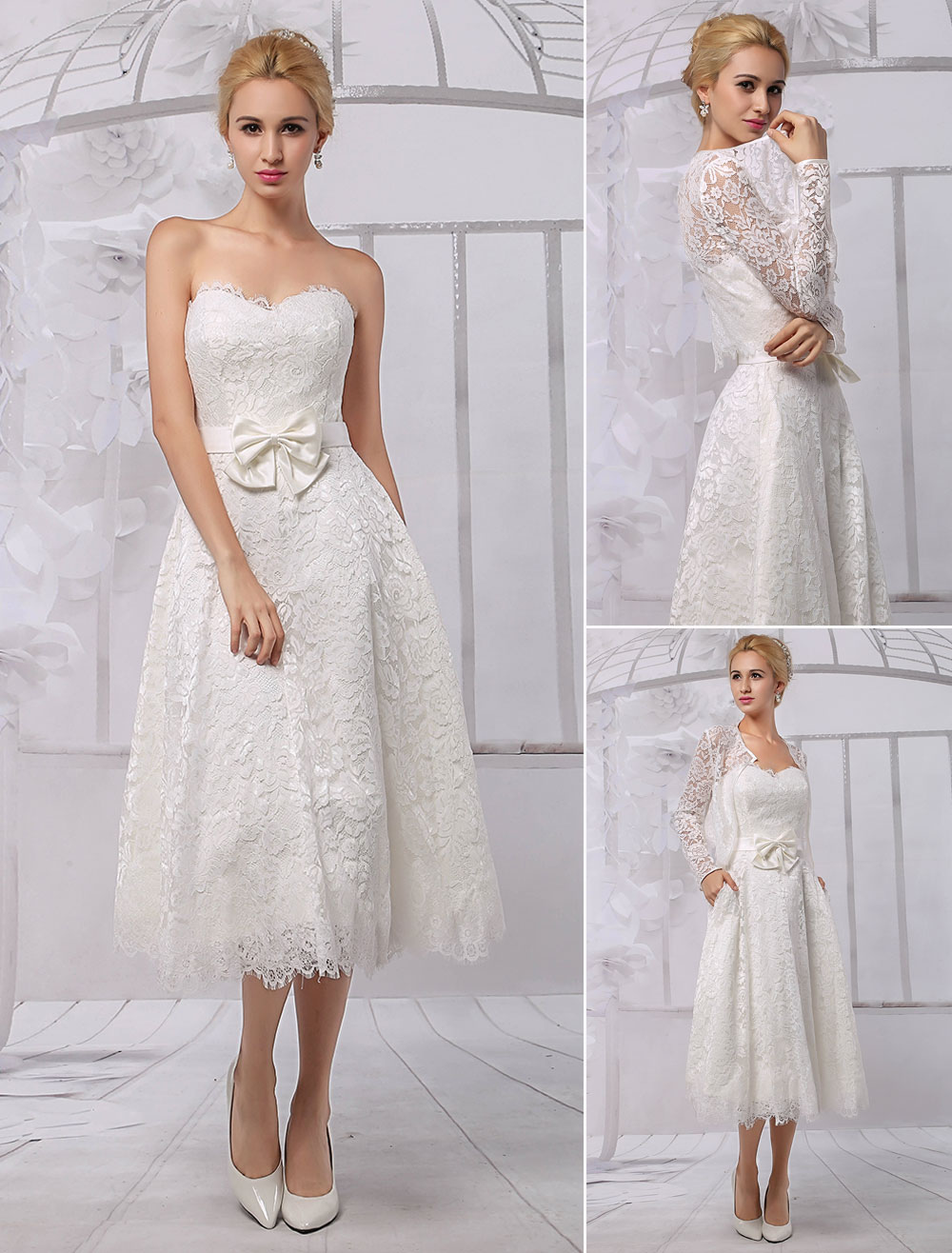 A Line Tea Length Lace Wedding Dress With Long Sleeve Bolerowrap Milanoo