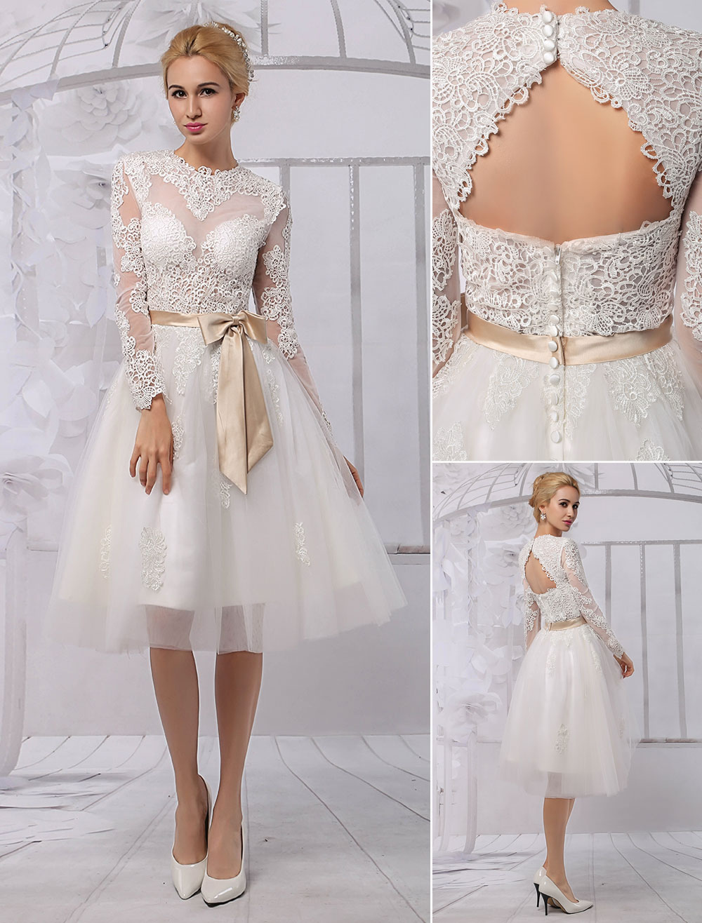 Knee Length Lace Illusion Neckline Long Sleeves Back Keyhole Wedding Dress With Satin Sash Milanoo