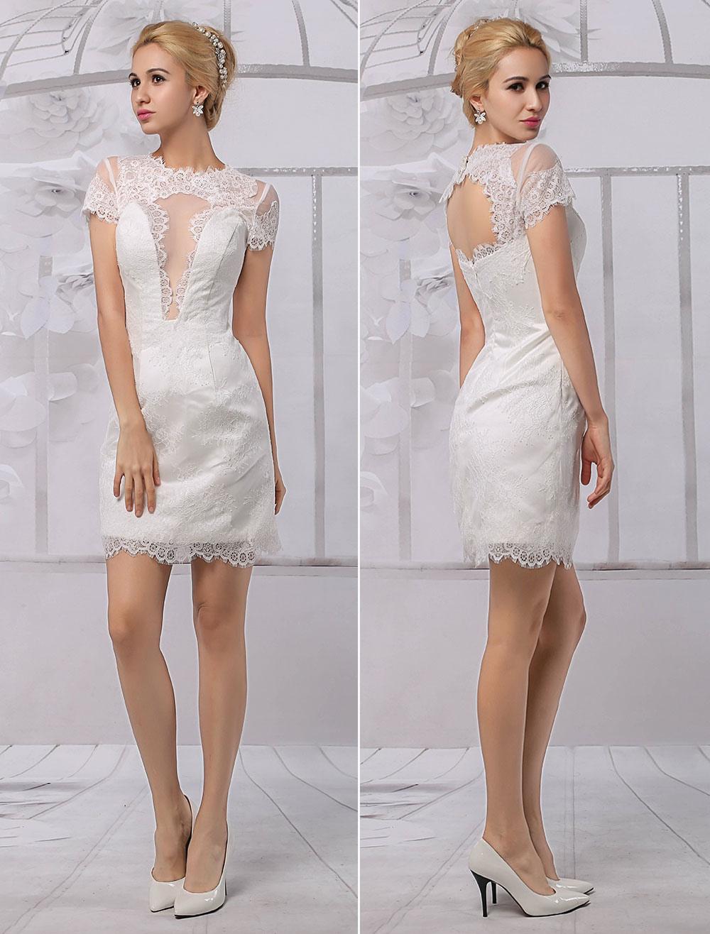 Short Lace Illusion Neckline Back Keyhole Wedding Dress With Sleeves Milanoo: Short Illusion Neck Wedding Dress At Reisefeber.org
