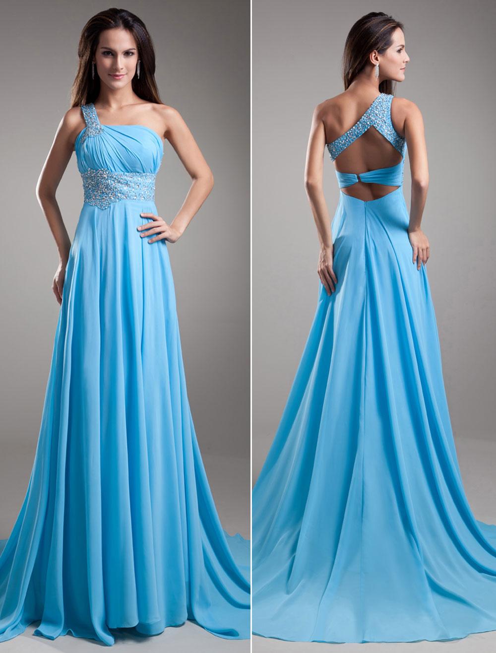 Chiffon Evening Dress Aqua One Shoulder Beaded Formal Dress Back Design Prom Dress With Chapel Train