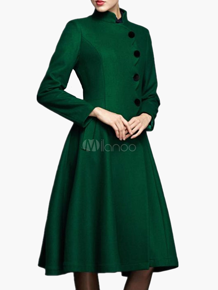 Stand Collar VIntage Wool Blend Coat