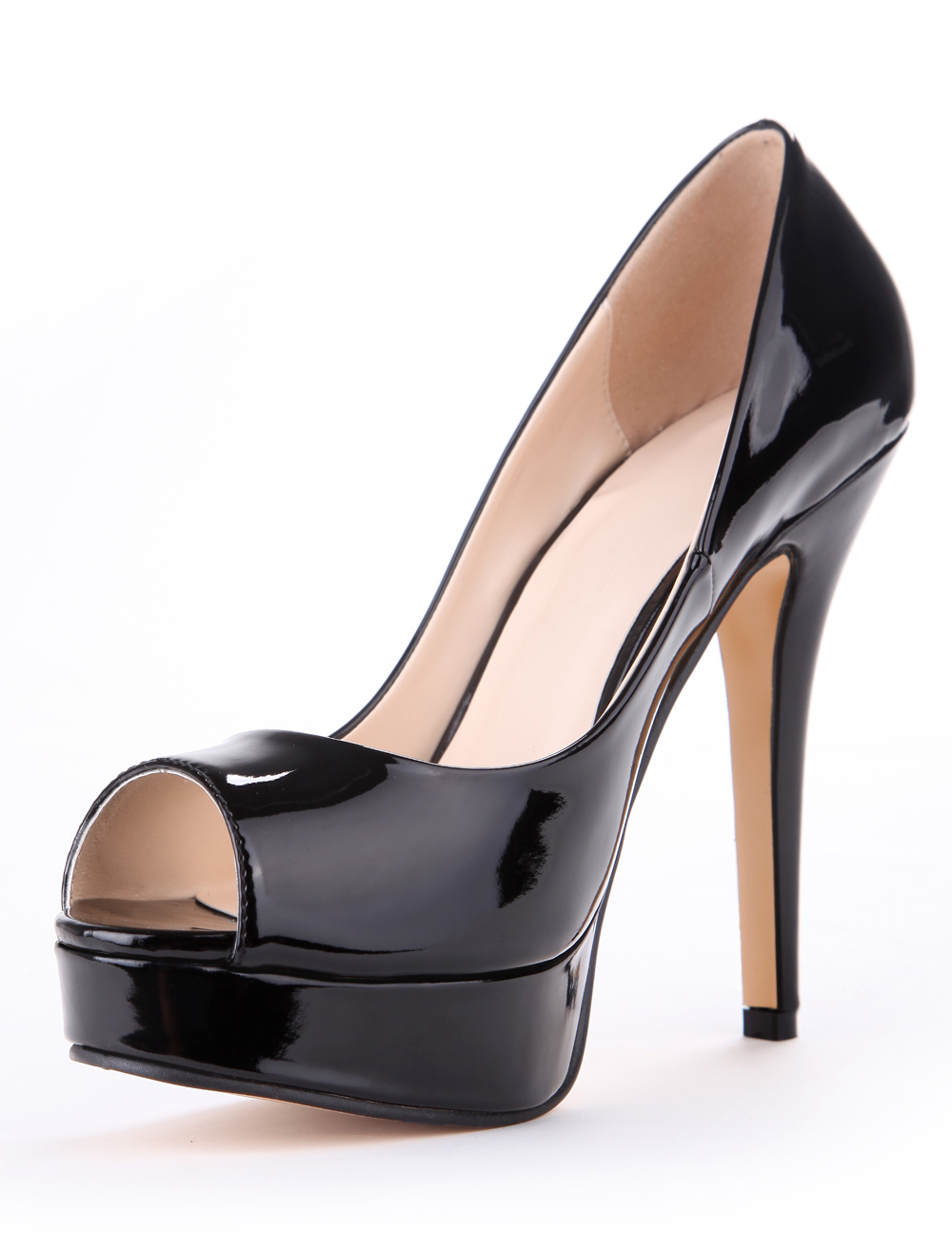 Attractive Black Patent Peep Toe High Heels