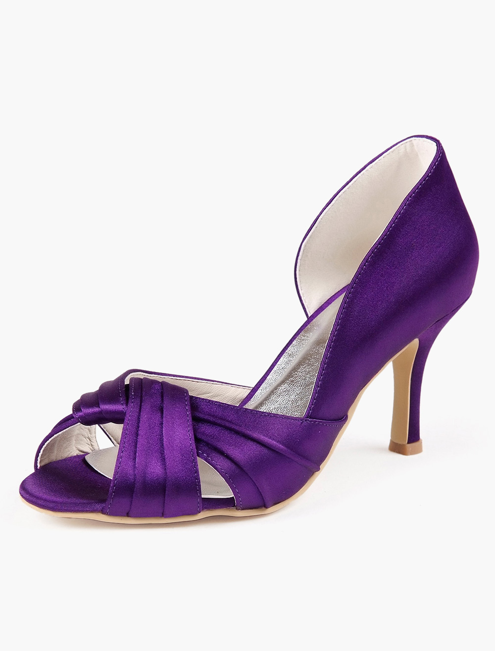 Buy Pleated Peep Toe Silk And Satin Evening and Bridal Sandals for $45.59 in Milanoo store