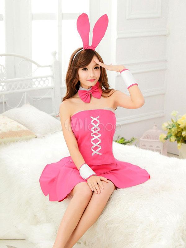 Sexy Bunny traje calidad Rosa poliéster para mujeres - Milanoo.com