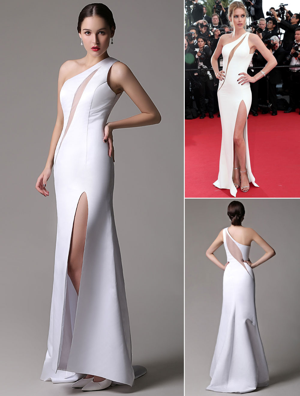 Doutzen Kroes Cannes White Satin Cutout Split Dress