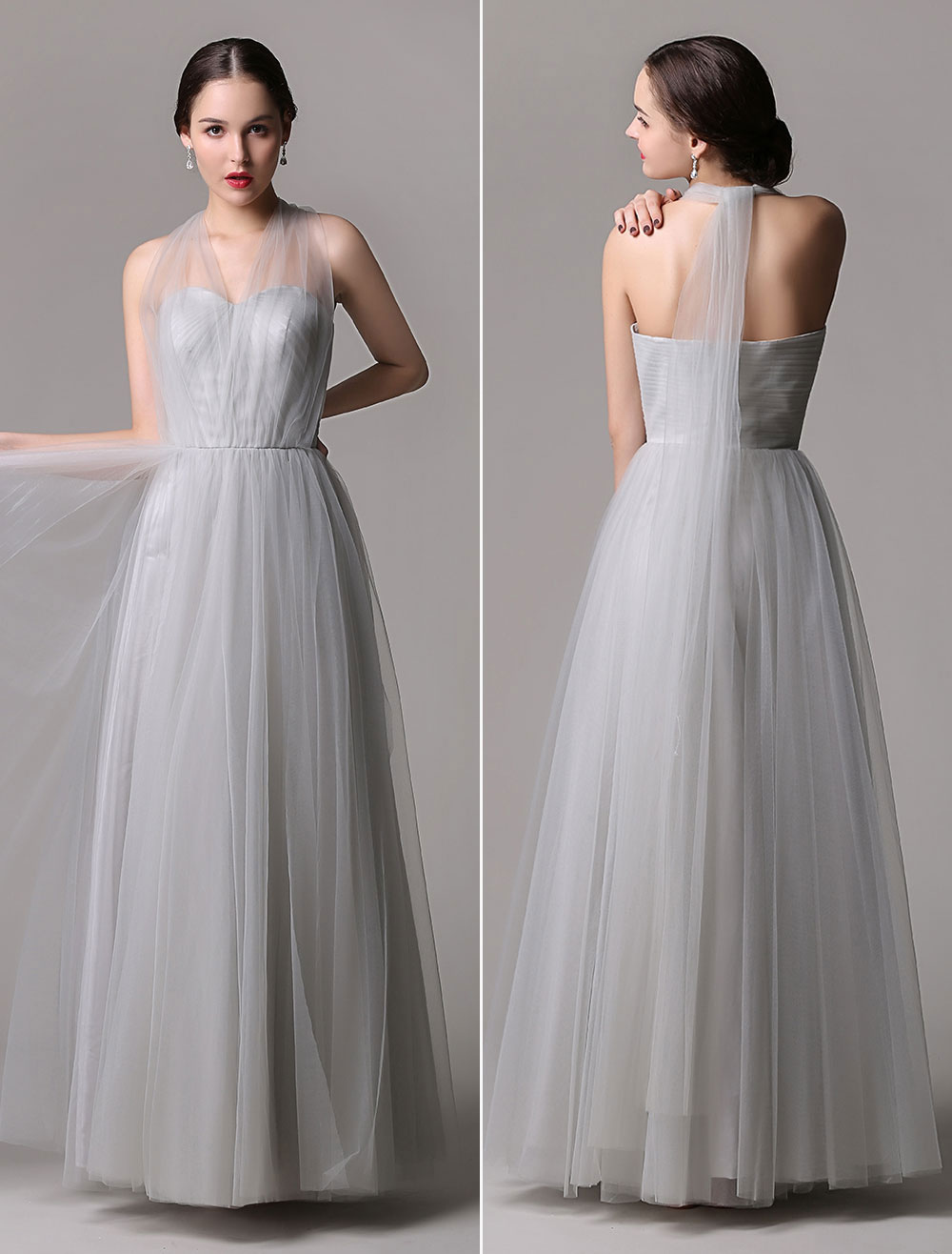 Tulle A-Line Floor-Length Convertible Bridesmaid Dress