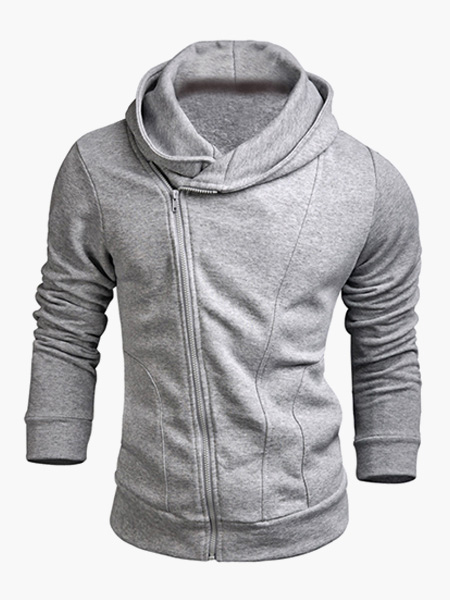 Zipper Closure Cotton Blend Hoodie For Man