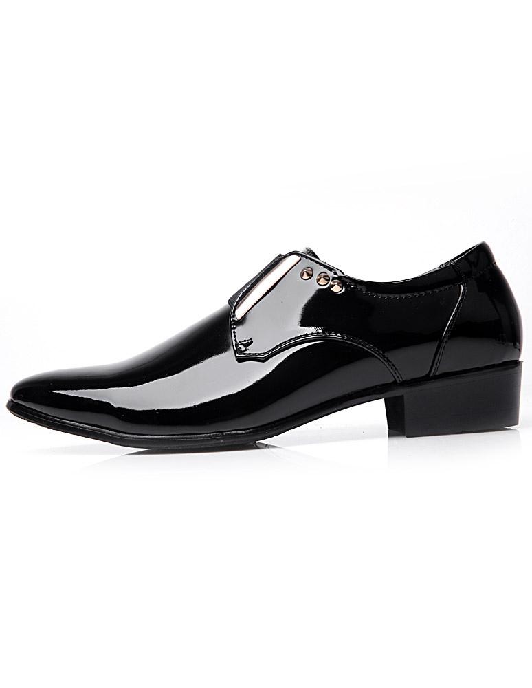 Noir Rivet Verni Homme Cuir Chaussures Avec En Laqué oxWCBerd