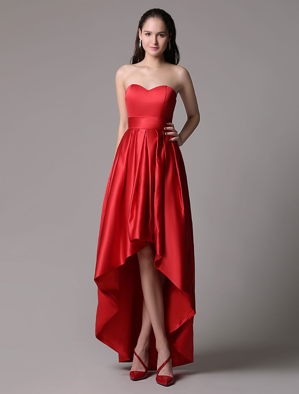 Buy Red Prom Dresses 2018 Short Strapless Backless Cocktail Dress Sweetheart Satin Ruched High Low Party Dress for $98.99 in Milanoo store