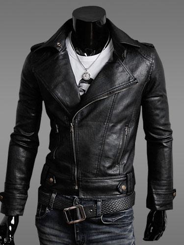 Black Leather Jacket Men Jacket Turndown Collar Long Sleeves Motorcycle Jacket