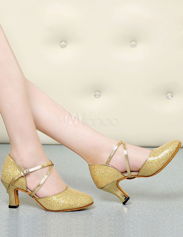 Sequined Ballroom Shoes Round Toe Criss Cross Dancing Shoes For Women