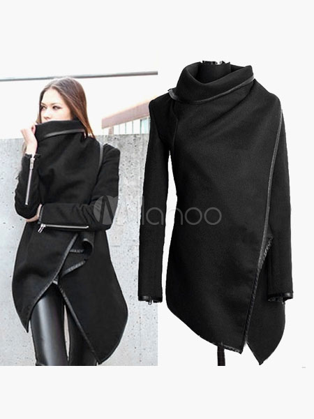 Trench Women Coat Black Wrap Coat Long Sleeve Zippered Wrap Jacket Cheap clothes, free shipping worldwide
