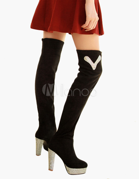 Thigh High Boots High Heel Micro Suede Over Knee Boots For Women