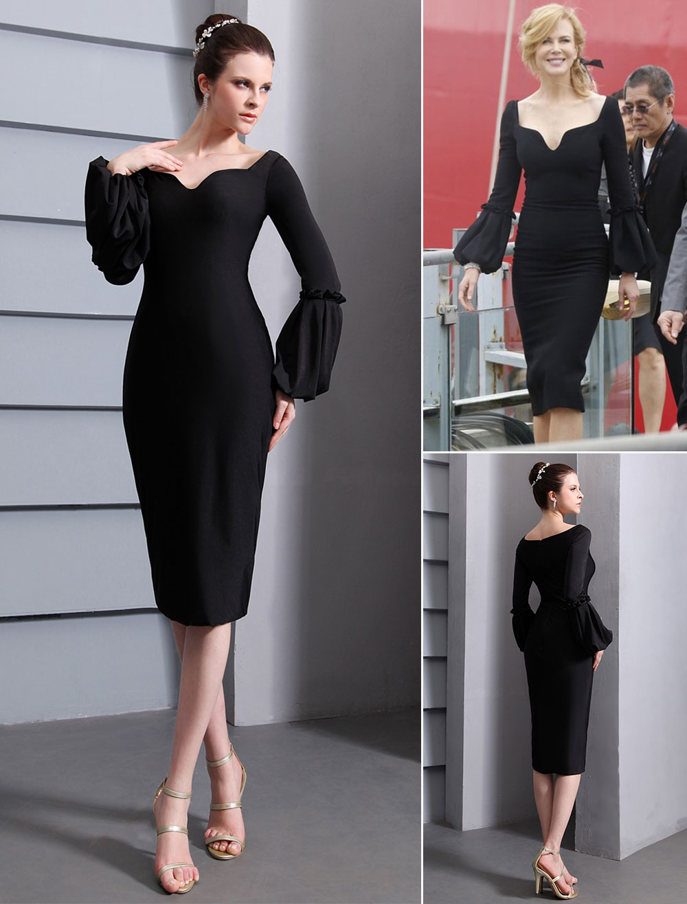 Black Celcebrity Dress Short Scoop Neck Sheath Cannes Film Festival