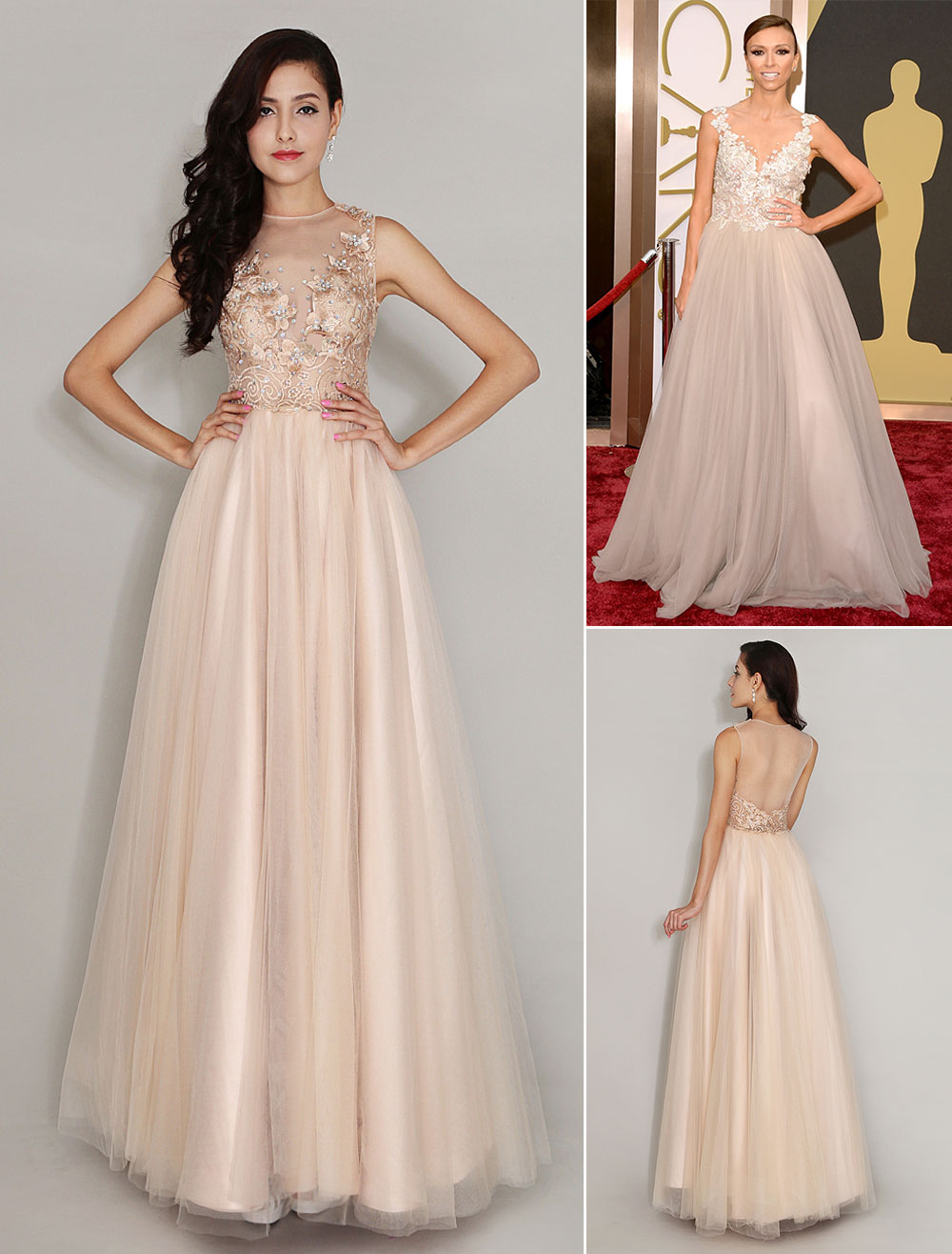 Floor-Length Champagne Tulle Applique Jewel Neck Evening Dress Inspired by Giuliana Rancic at Oscar