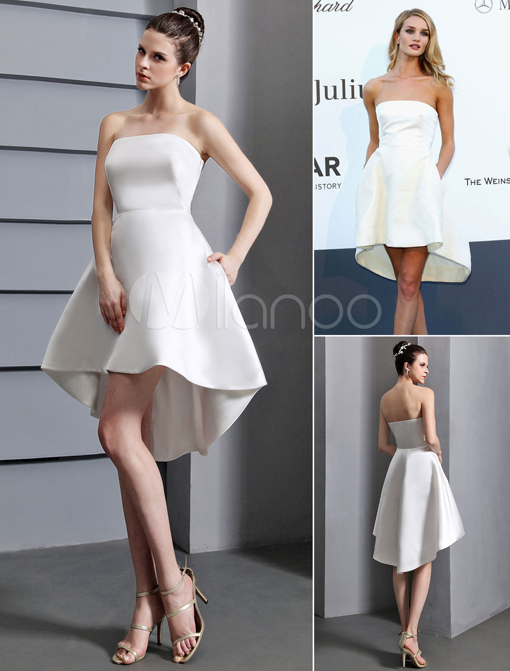Buy White Prom Dresses 2018 Short Ivory Strapless Backless Cocktail Dress High Low Satin Party Dress for $89.99 in Milanoo store