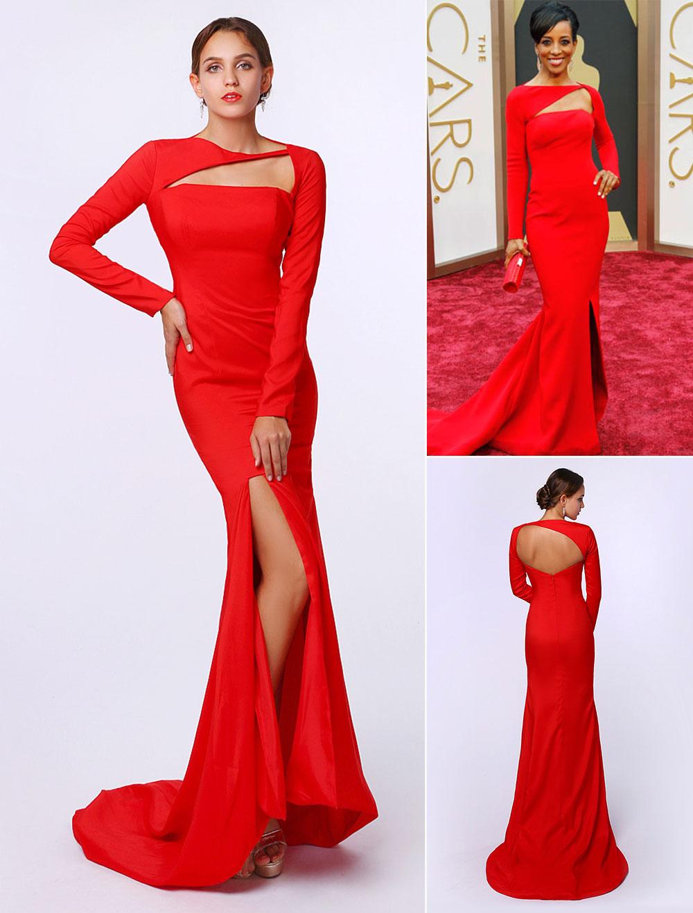 Mermaid Red Elastic Silk Split Sweep Train Evening Dress Inspired by Shaun Robinson at Oscar
