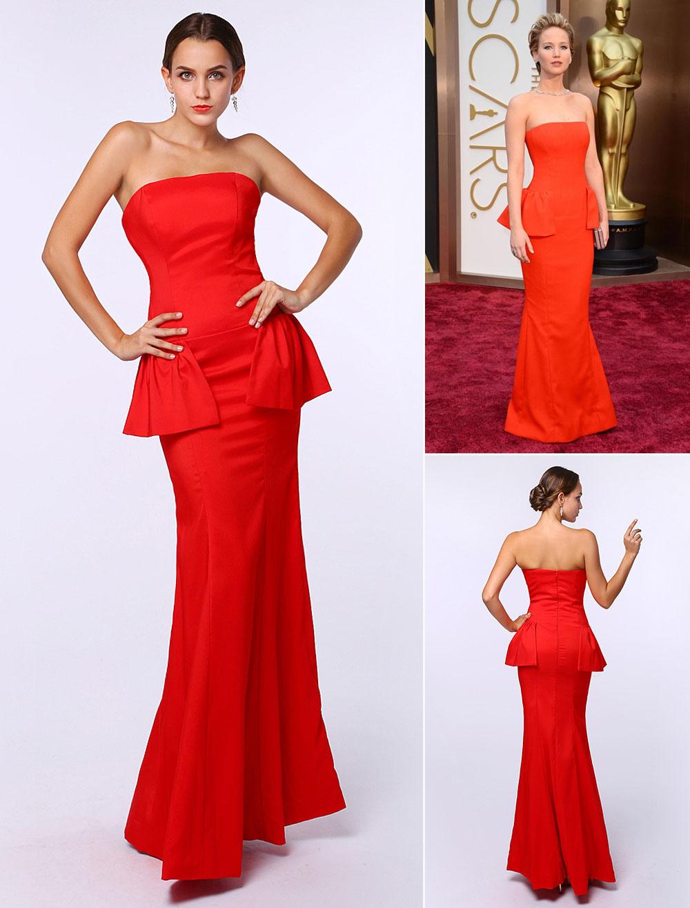 Mermaid Red Satin Peplum Strapless Floor-Length Evening Dress ...