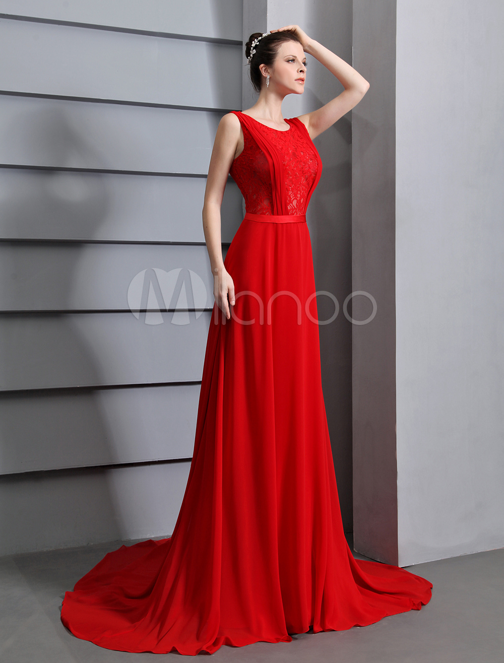 Red Prom Dresses 2017 Long Backless Evening Dress Lace Insert ...