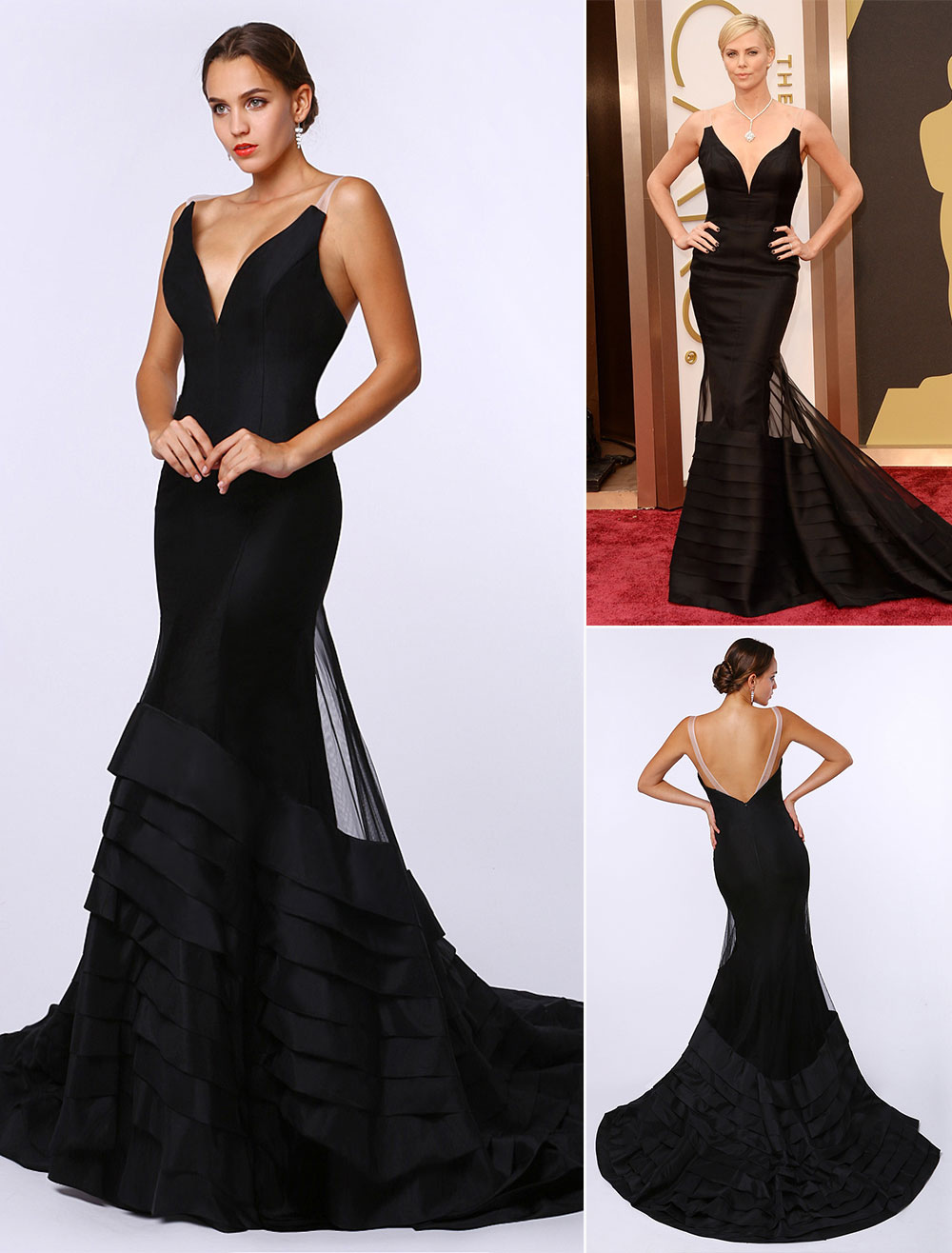 Sexy Black Deep V Mermaid Evening Dress Inspired by Charlize Theronk at Oscar