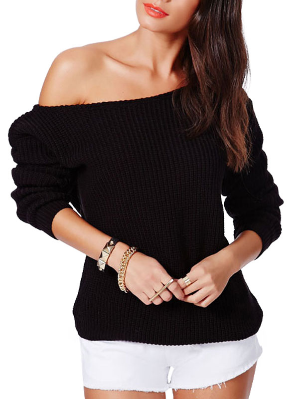 Off-The-Shoulder Waist Tightened Pullover Sweater