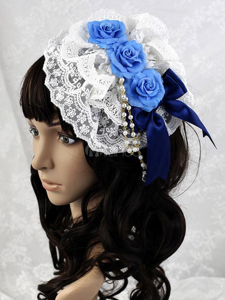 Buy Royal Blue Flower Mesh Lovely Lolita Headdress for $20.99 in Milanoo store