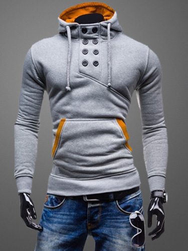 f2d6e510437a00 Deep Grey Sweatshirt Men Drawstring Long Sleeve Assassin s Creed Hoodie in  Asymmetric ...