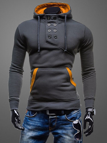 Deep Grey Sweatshirt Men Drawstring Long Sleeve Assassin S Creed