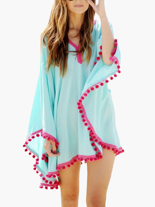 Swimsuit Cover Ups Blue Chiffon V Neck Pom Poms Oversized Beach Bathing Suit Cheap clothes, free shipping worldwide