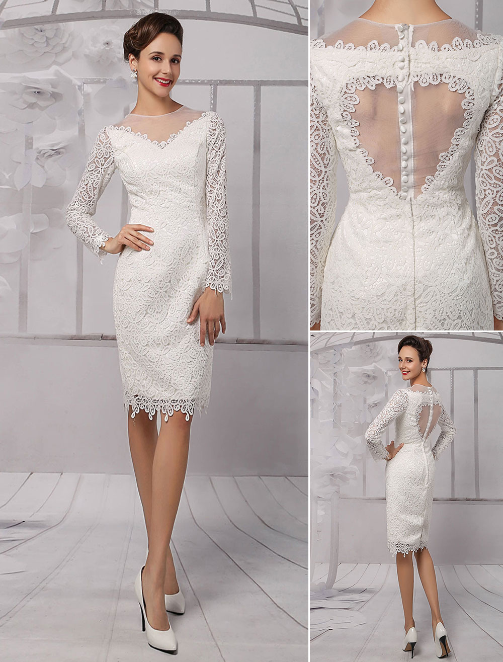 Wedding dresses 2018 short long sleeve illusion neckline for Knee length wedding dresses with sleeves