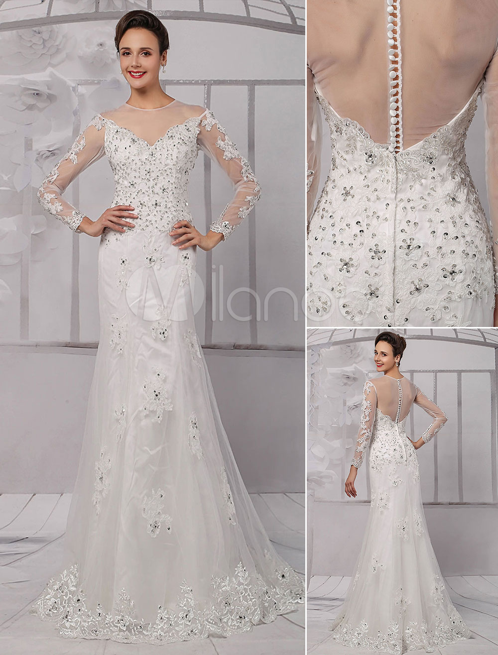 Lace illusion neckline long sleeves knee length sheath for Sheath wedding dress with beading and side drape
