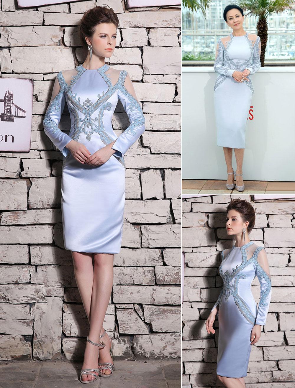 Buy Baby Blue Cocktail Dress Satin Beading Prom Dress Elegant Jewel Neck Sleeveless Sheath Party Dress Wedding Guest Dress Milanoo for $180.89 in Milanoo store
