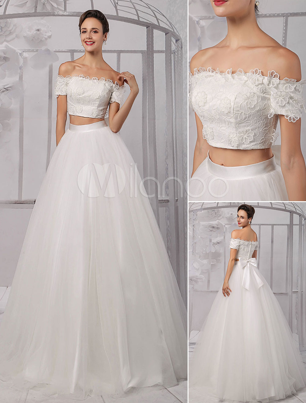 Two-Pieces Crop Top Off-the-shoulder Ball Gown Wedding Dress With Floral Bodice And Tulle Skirt Milanoo