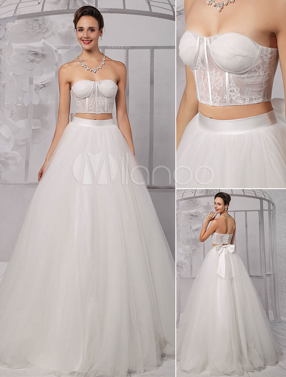 Two pieces strapless lace corset crop top ball gown for Wedding dress skirt and top