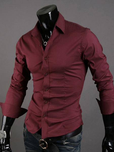 Men Dress Shirt Cotton Turndown Collar Solid Color Long Sleeve Shirt