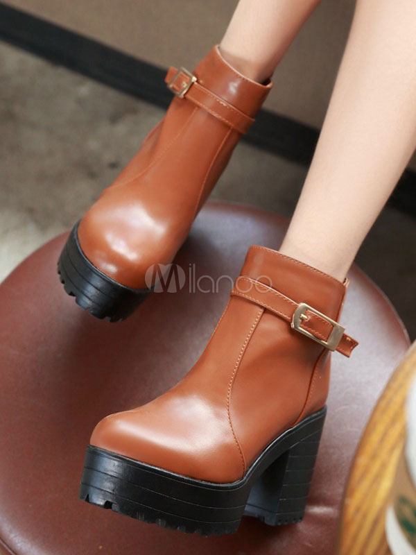 203413ab75b Round Toe Chunky Heel Buckle Thick Sole Boots