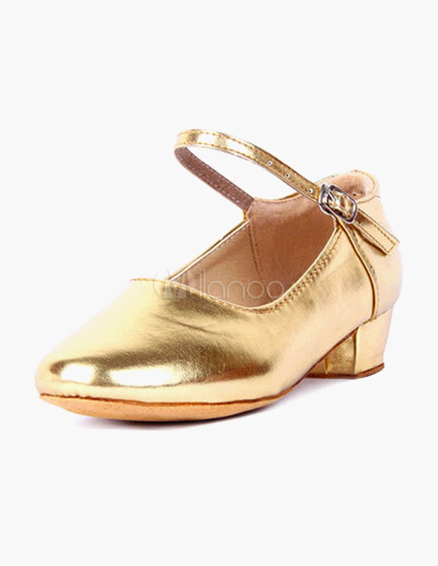 Ankle Strap Round Toe PU Leather Ballroom Shoes For Kids